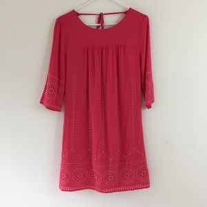 Crown & Ivy Eyelet Lined Pink Dress Size 2